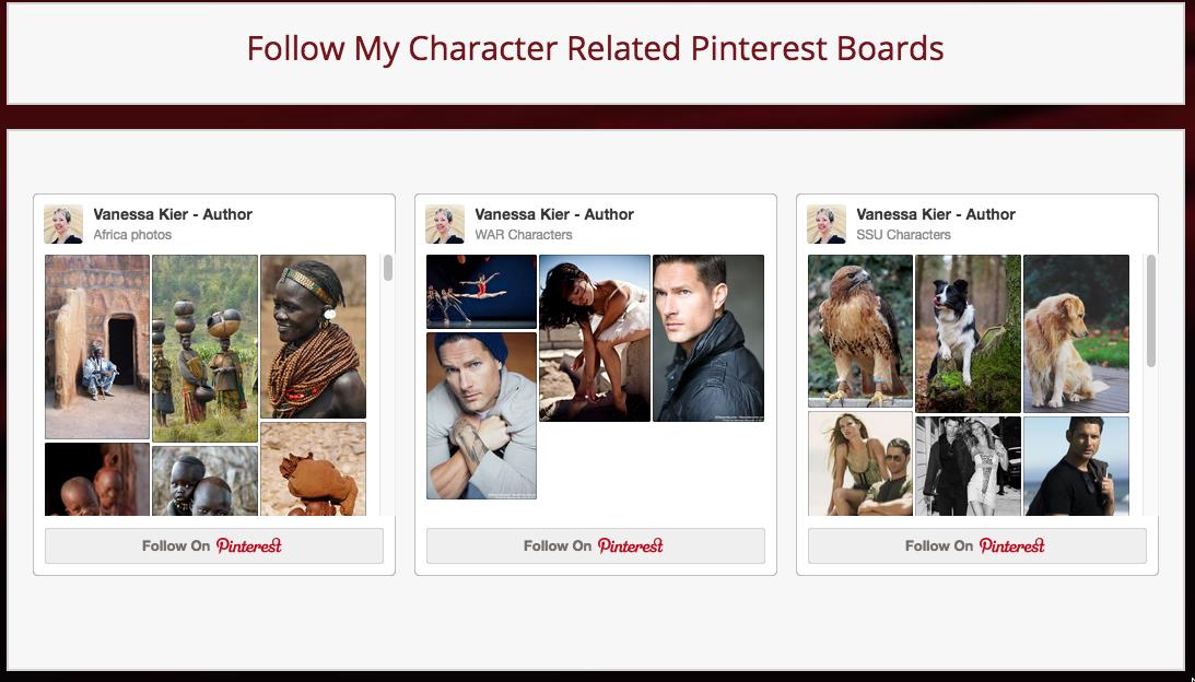 Screenshot of Pinterest Boards from Vanessa Kier's website