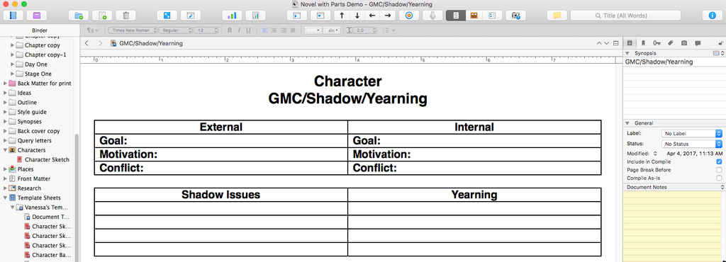 Character GMC Yearning chart in Scrivener