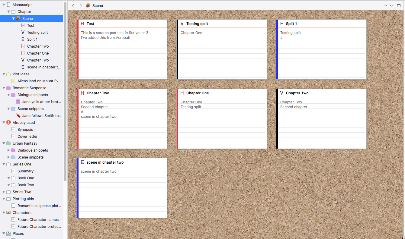 Image of Scrivener 3 binder and corkboard showing Icon as Text assigned for POV