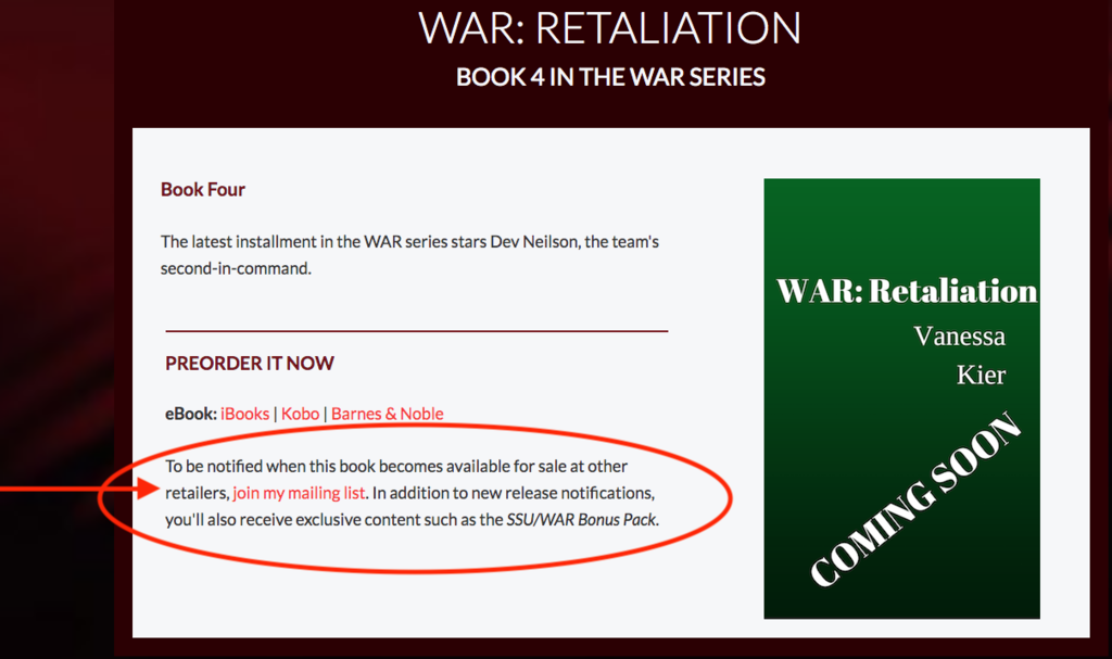 WAR: Retaliation page showing newsletter option