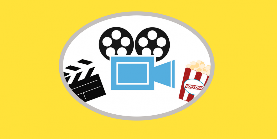 Image of clapboard, video projector, and popcorn