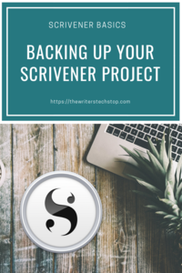 Image of a laptop and the Scrivener logo