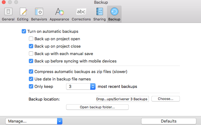 The Scrivener Backup Options Screen
