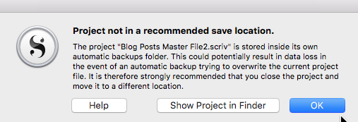 Scrivener save location warning message