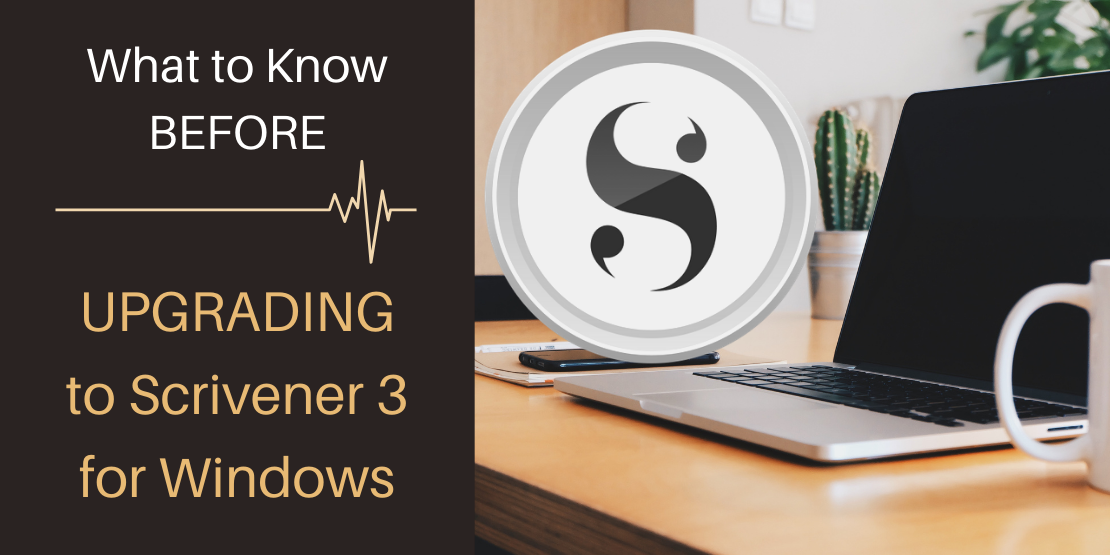 Laptop on desk with Scrivener logo nearby